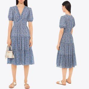 Tory Burch Silk Keepsake Dress Blue NWT 8 RARE